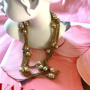 Vintage Accessocraft Faux Pearl Chain Necklace
